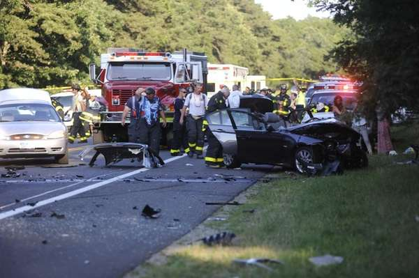 Two vehicles collided in East Hampton on Route