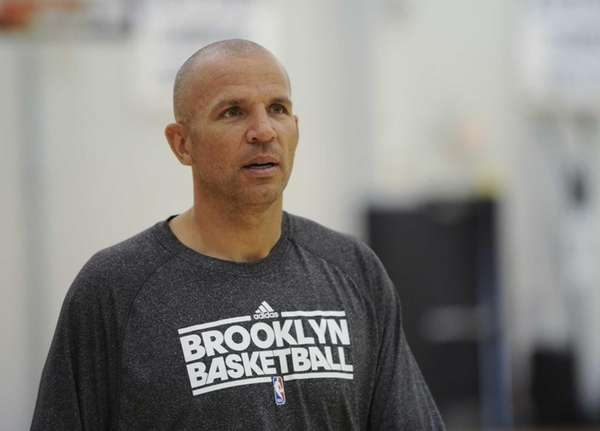Nets coach Jason Kidd walks across the practice