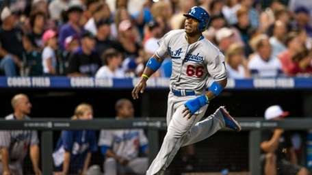 Yasiel Puig #66 of the Los Angeles Dodgers