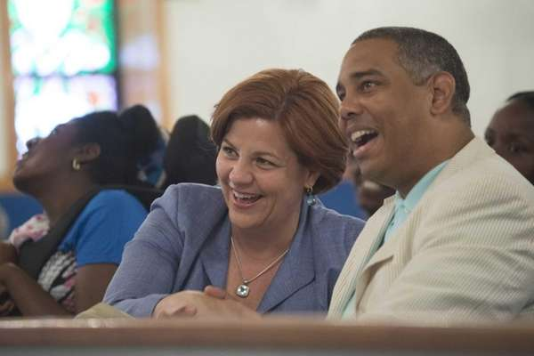 Mayoral candidate Christine Quinn share a laugh with