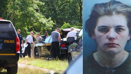 Left, Police search for Catherine Brady, right, at