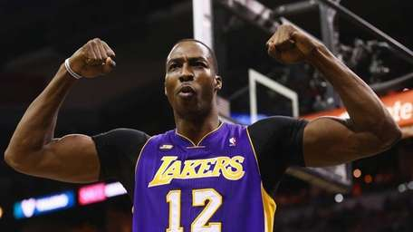 Dwight Howard reacts after being fouled during Game
