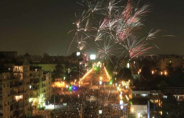 Fireworks burst over opponents of Egypt's ousted Islamist