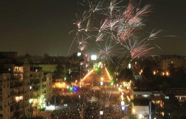 Fireworks burst over opponents of Egypt's ousted Islamist