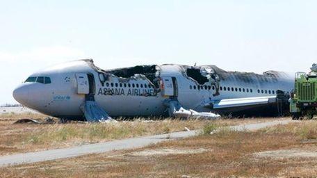 Asiana plane crash investigation scene in San Francisco.