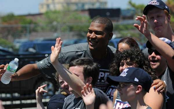 Yankees pitcher Ivan Nova and members of Rockaway
