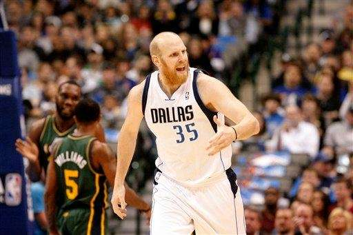 Dallas Mavericks center Chris Kaman (35) looks on