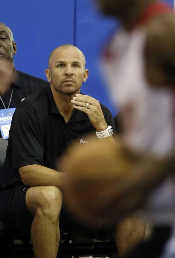 Nets head coach Jason Kidd watches his team