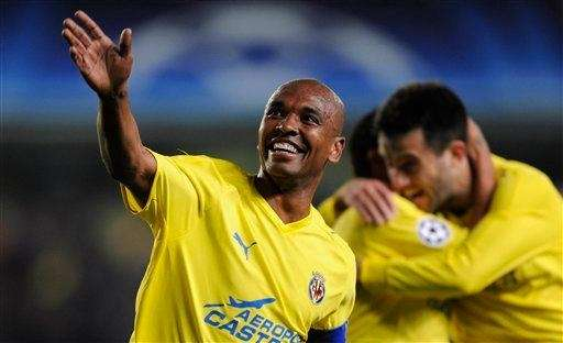 Villarreal's Marcos Senna celebrates after scoring a goal