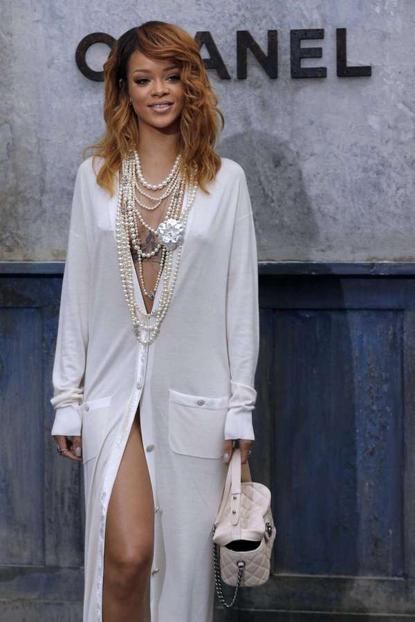 Rihanna draped in pearls at the Chanel couture