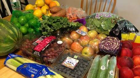 Five days worth of fresh fruits and vegetables
