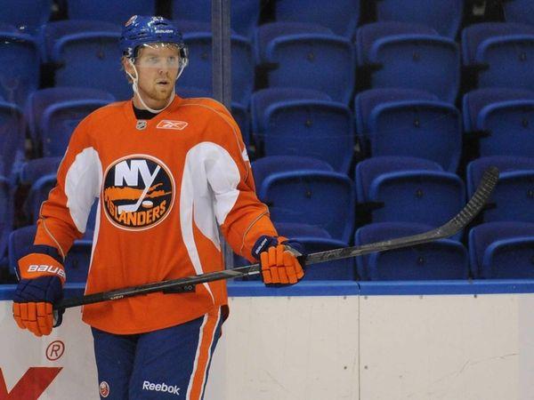Islanders prospect Griffin Reinhart skates during minicamp at