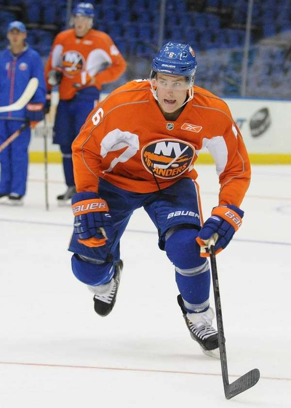 Islanders prospect Ryan Pulock skates during minicamp at