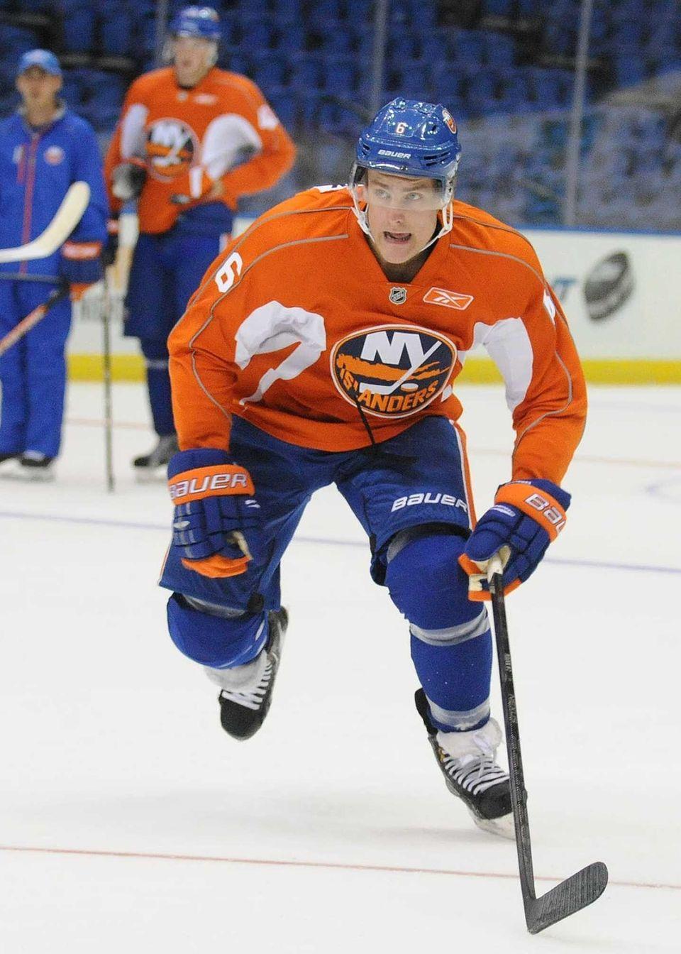 Islanders prospect Ryan Pulock skates during minicamp at