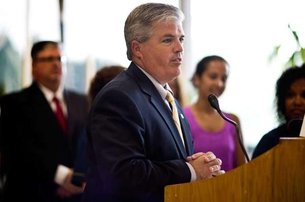 Suffolk County Executive Steve Bellone speaks in Hauppauge,