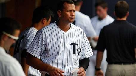 Alex Rodriguez takes a drink after striking out