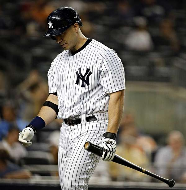 Yankees designated hitter Travis Hafner leaves the plate