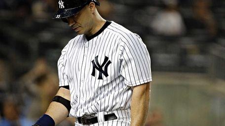 Yankees designated hitter Travis Hafner leaves the plate