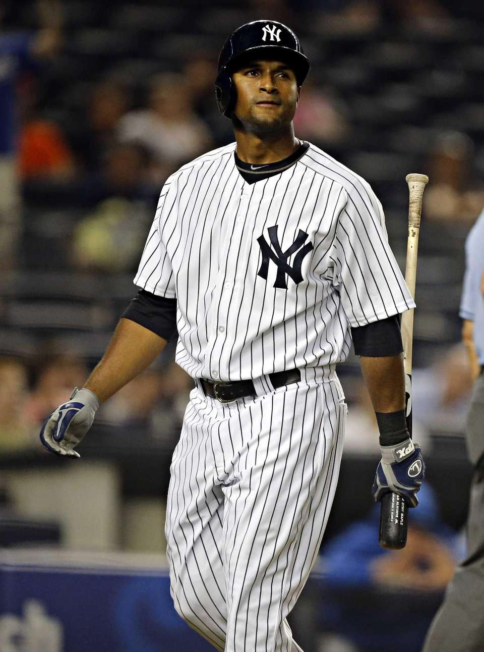 Yankees left fielder Zoilo Almonte is dejected after