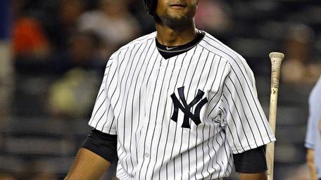 Yankees left fielder Zoilo Almonte is dejected after