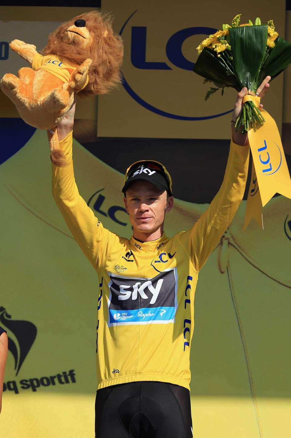 Yellow jersey holder Chris Froome, pictured, lost a