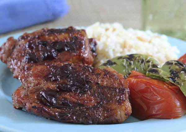 Cherry-balsamic glazed grilled chicken can be made with