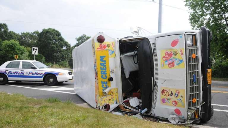 An ice cream truck overturned on Patchogue-Holbrook Road