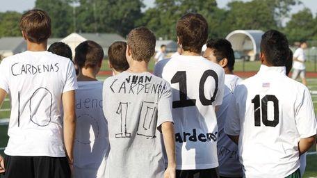 The Westhampton Beach varsity soccer team held an