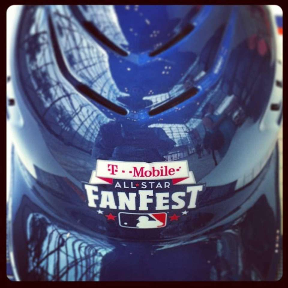 A batting helmet from the All-Star FanFest. This