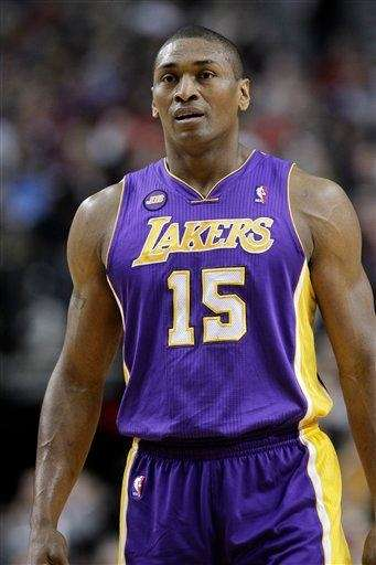 The Los Angeles Lakers' Metta World Peace is