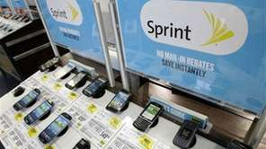 Sprint phones are displayed at a Best Buy