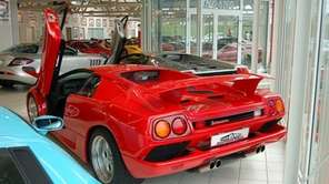 The rear of a 1991 Lamborghini Diablo is