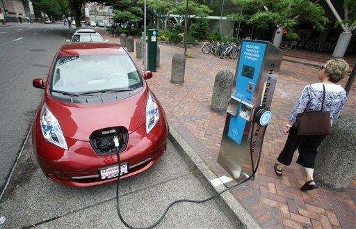 A Nissan Leaf charges at an electric vehicle