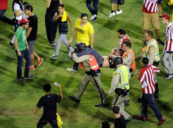 Brawls at a match between intense Mexican rivals