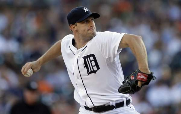 Detroit Tigers starting pitcher Max Scherzer throws during