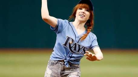 Carly Rae Jepsen throws out the ceremonial first