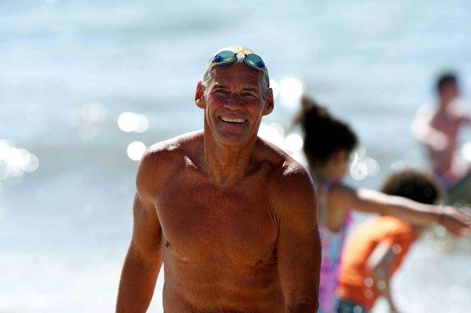 Jones Beach lifeguard, Ed Peters, 70. He supervises