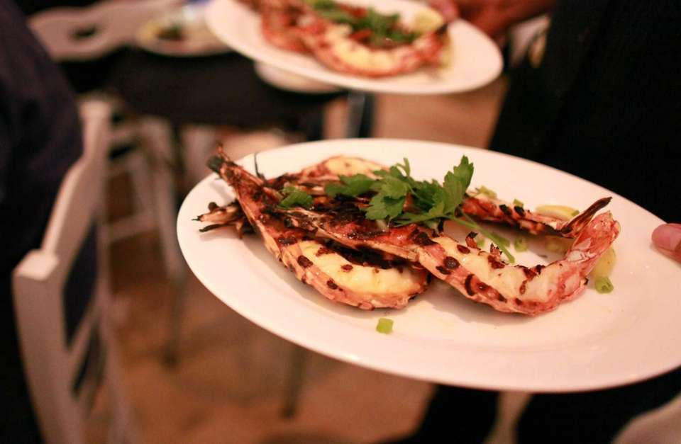 Smoky grilled tiger shrimp at Kyma in Roslyn.