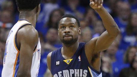 Memphis Grizzlies guard Tony Allen gestures during Game