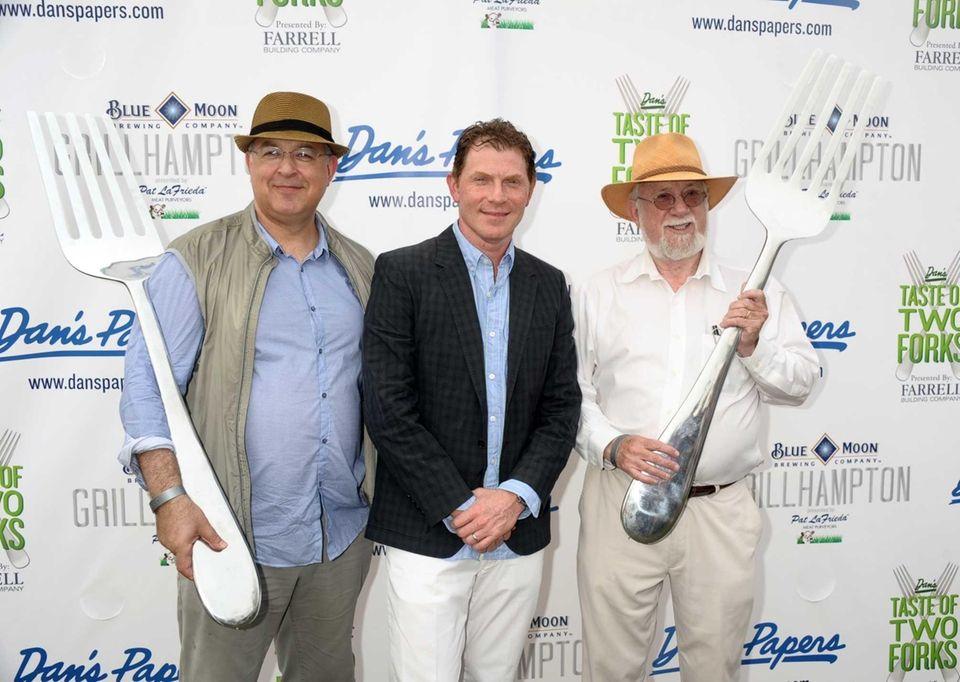 Richard Burns, Bobby Flay and Dan Rattiner attend
