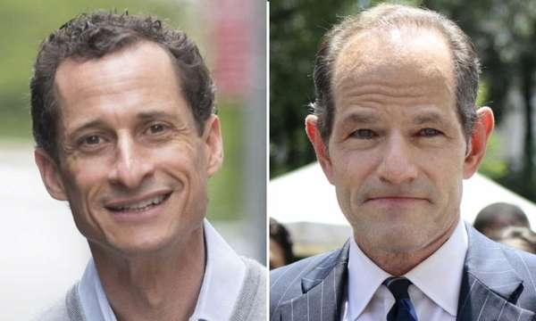 Left, Anthony Weiner leaves his apartment building in