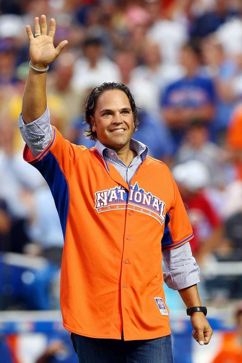 Former baseball player Mike Piazza gestures during the