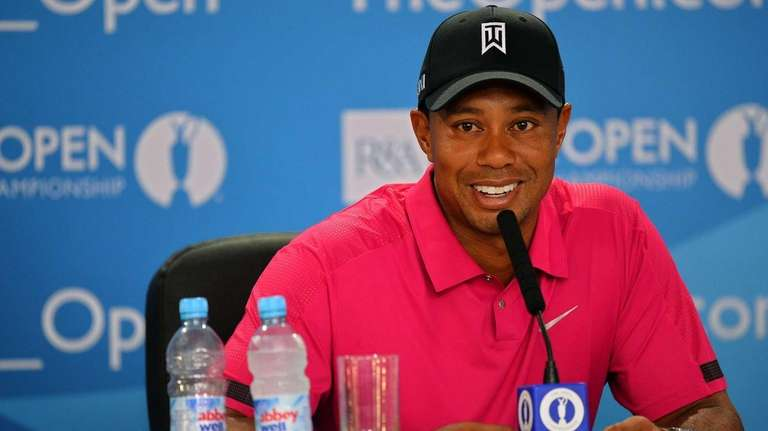 Tiger Woods attends a press conference at Muirfield