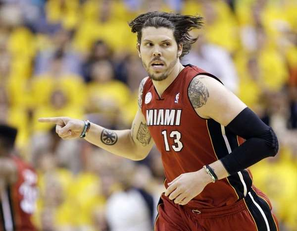 Miami Heat shooting guard Mike Miller reacts against