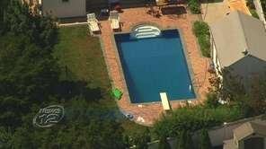 An aerial view of the pool at a