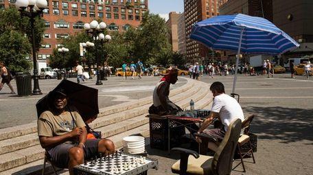 NEW YORK, NY - JULY 16: Chess players