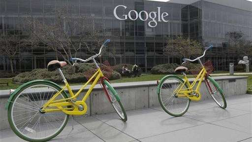Google bicycles are parked at the Google campus