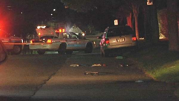 Police at the scene of a crash at
