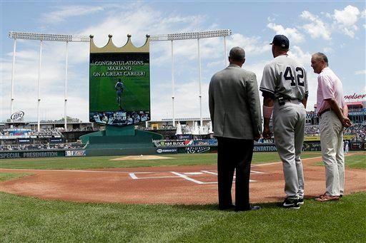 KANSAS CITY ROYALS Rivera stands with Kansas City