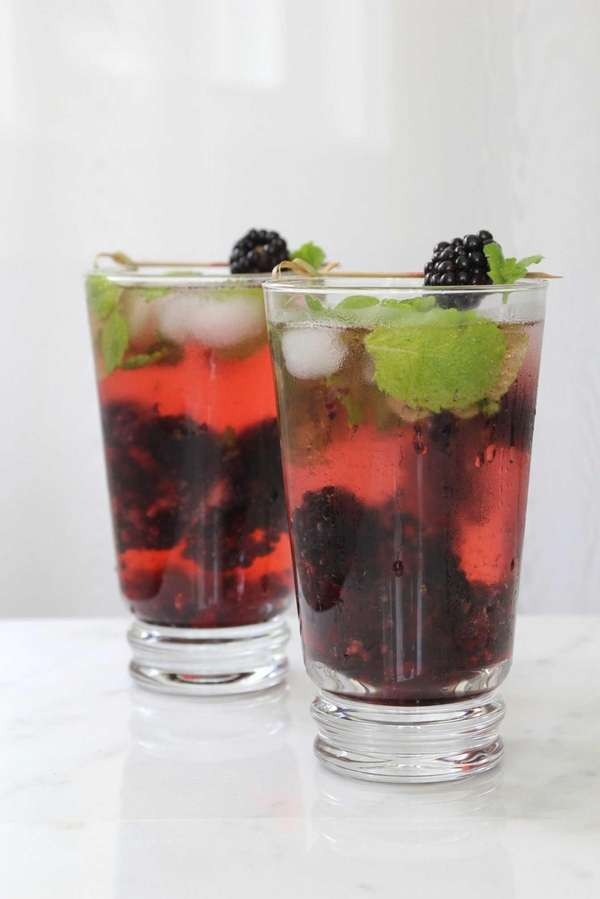 Blackberries, mint, club soda and some sugar are
